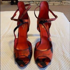 L.K. Bennett floral strappy heels